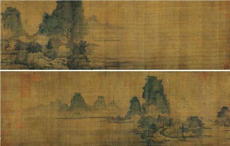 画家以墨笔皴山画树,用青绿重彩渲染,既有李成之清雅,又兼李思训之