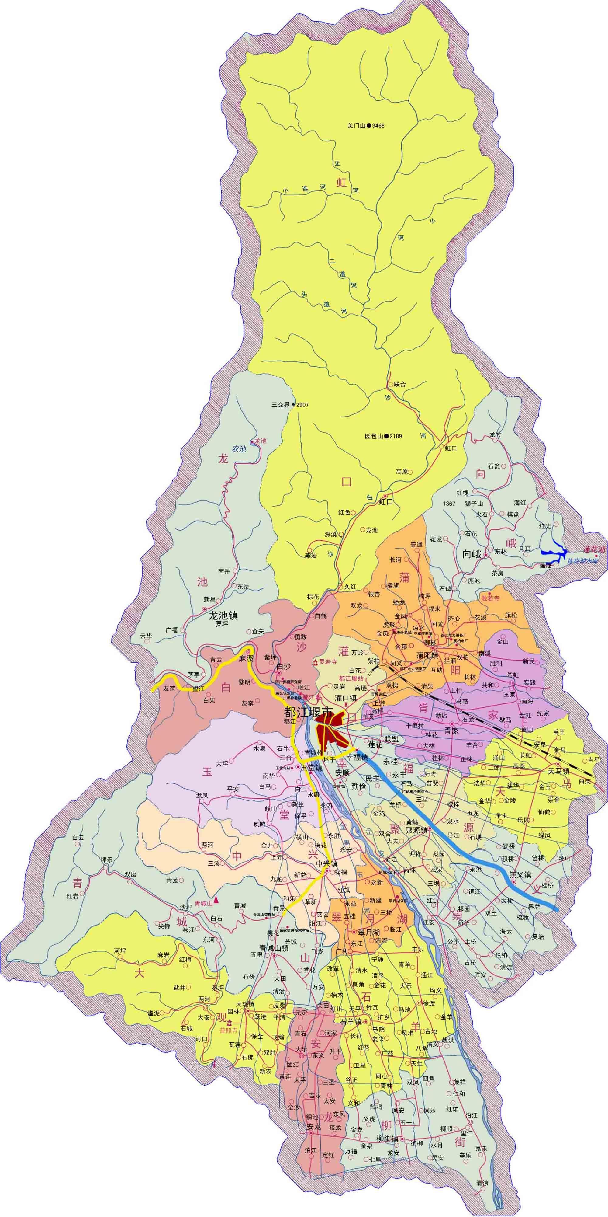 都江堰市行政区划图