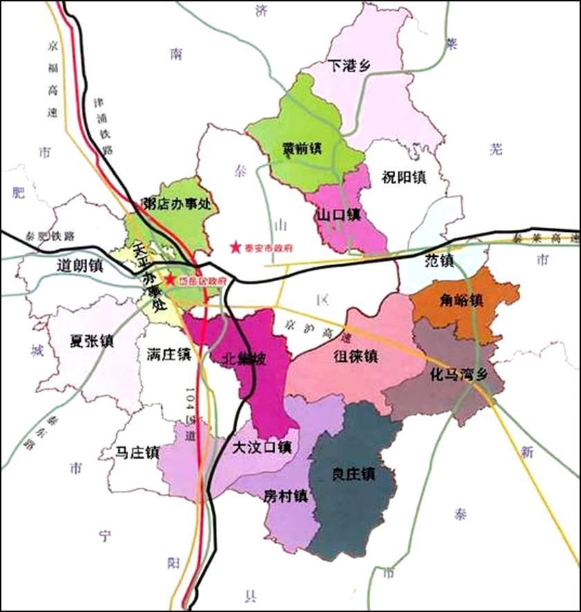 岱岳区行政区划图