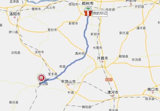 线路途经郑州,许昌,平顶山3个地级市的9个县区