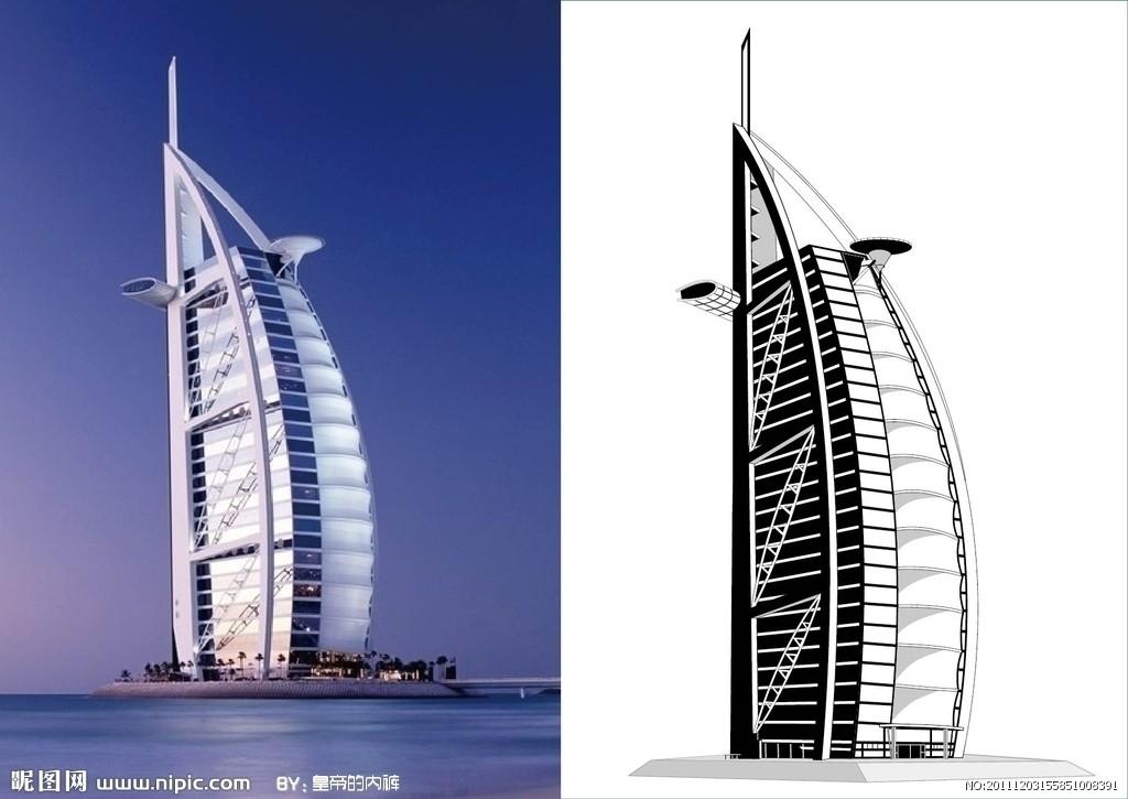 帆船酒店矢量图_世界著名建