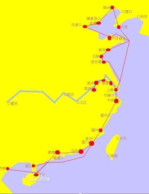 青岛线   挂靠港:青岛~日照~连云港~厦门(汕头 福州)~上海~黄埔